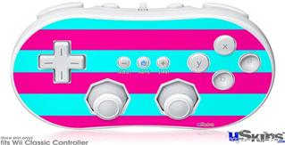 Wii Classic Controller Skin - Psycho Stripes Neon Teal and Hot Pink