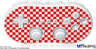 Wii Classic Controller Skin - Checkered Canvas Red and White