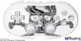 Wii Classic Controller Skin - Chrome Skull on White