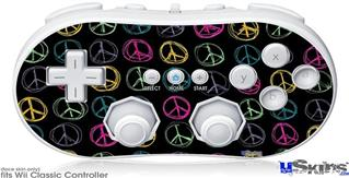 Wii Classic Controller Skin - Kearas Peace Signs Black