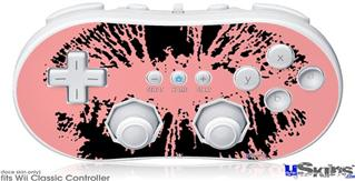 Wii Classic Controller Skin - Big Kiss Black on Pink