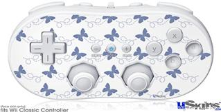 Wii Classic Controller Skin - Pastel Butterflies Blue on White