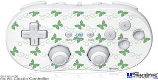 Wii Classic Controller Skin - Pastel Butterflies Green on White