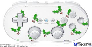 Wii Classic Controller Skin - Holly Leaves on White