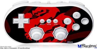 Wii Classic Controller Skin - Oriental Dragon Red on Black