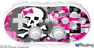 Wii Classic Controller Skin - Girly Pink Bow Skull