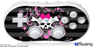 Wii Classic Controller Skin - Pink Bow Skull