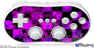 Wii Classic Controller Skin - Purple Star Checkerboard