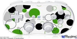 Wii Classic Controller Skin - Lots of Dots Green on White