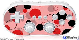 Wii Classic Controller Skin - Lots of Dots Red on Pink