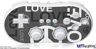 Wii Classic Controller Skin - Love and Peace Gray