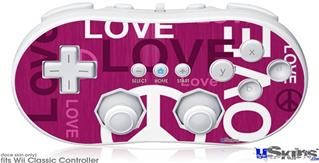 Wii Classic Controller Skin - Love and Peace Hot Pink