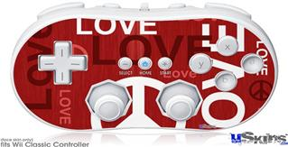 Wii Classic Controller Skin - Love and Peace Red
