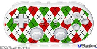 Wii Classic Controller Skin - Argyle Red and Green