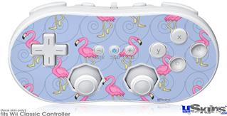 Wii Classic Controller Skin - Flamingos on Blue