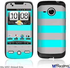 HTC Droid Eris Skin - Psycho Stripes Neon Teal and Gray