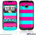 HTC Droid Eris Skin - Psycho Stripes Neon Teal and Hot Pink
