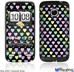 HTC Droid Eris Skin - Pastel Hearts on Black