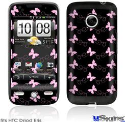 HTC Droid Eris Skin - Pastel Butterflies Pink on Black