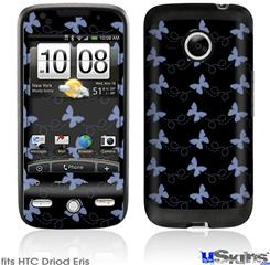 HTC Droid Eris Skin - Pastel Butterflies Blue on Black