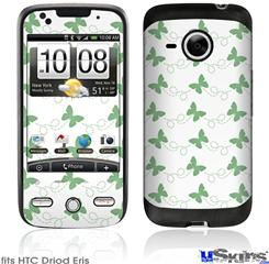 HTC Droid Eris Skin - Pastel Butterflies Green on White