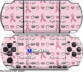 Sony PSP 3000 Skin - Fight Like A Girl Breast Cancer Ribbons and Hearts