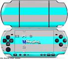 Sony PSP 3000 Skin - Psycho Stripes Neon Teal and Gray
