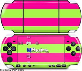 Sony PSP 3000 Skin - Psycho Stripes Neon Green and Hot Pink
