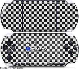 Sony PSP 3000 Skin - Checkered Canvas Black and White