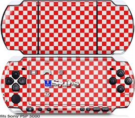 Sony PSP 3000 Skin - Checkered Canvas Red and White