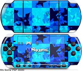 Sony PSP 3000 Skin - Blue Star Checkers
