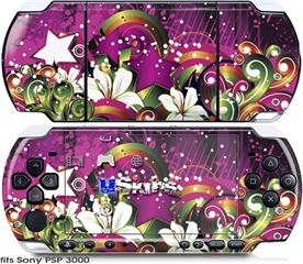 Sony PSP 3000 Skin - Grungy Flower Bouquet