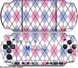 Sony PSP 3000 Skin - Argyle Pink and Blue
