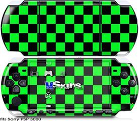 Sony PSP 3000 Skin - Checkers Green