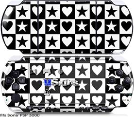 Sony PSP 3000 Skin - Hearts And Stars Black and White