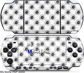 Sony PSP 3000 Skin - Kearas Daisies Black on White
