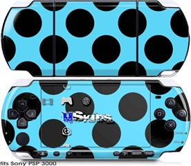 Sony PSP 3000 Skin - Kearas Polka Dots Black And Blue