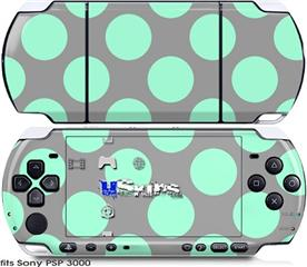 Sony PSP 3000 Skin - Kearas Polka Dots Mint And Gray
