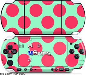 Sony PSP 3000 Skin - Kearas Polka Dots Pink And Blue