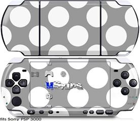 Sony PSP 3000 Skin - Kearas Polka Dots Whtie On Gray