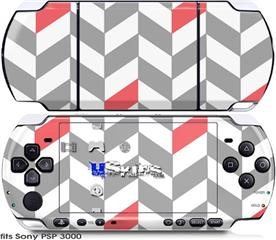 Sony PSP 3000 Skin - Chevrons Gray And Coral