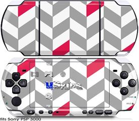 Sony PSP 3000 Skin - Chevrons Gray And Raspberry