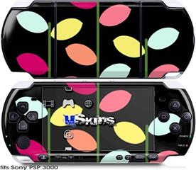 Sony PSP 3000 Skin - Plain Leaves On Black