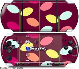 Sony PSP 3000 Skin - Plain Leaves On Burgundy