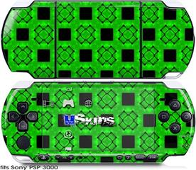 Sony PSP 3000 Skin - Criss Cross Green