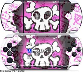 Sony PSP 3000 Skin - Cartoon Skull Pink