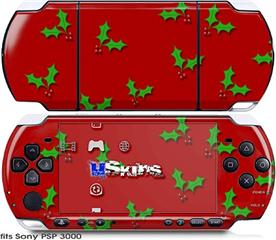 Sony PSP 3000 Skin - Holly Leaves on Red