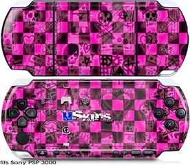 Sony PSP 3000 Skin - Pink Checkerboard Sketches