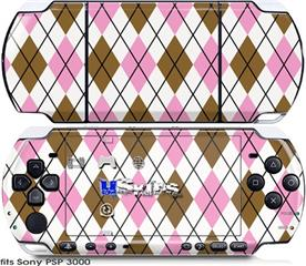 Sony PSP 3000 Skin - Argyle Pink and Brown