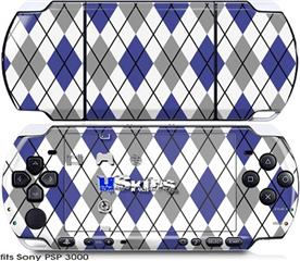 Sony PSP 3000 Skin - Argyle Blue and Gray